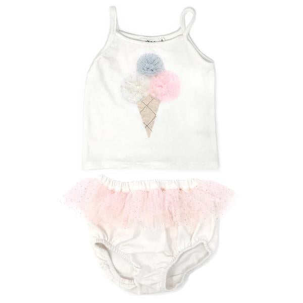 oh baby! Triple Scoop Mesh Ballet Tank Tushie Set - Cream