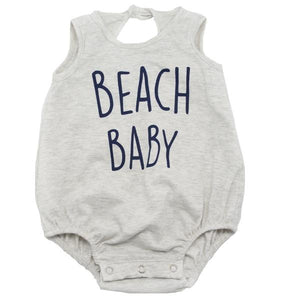 "oh baby! Pima Cotton Bubble - ""Beach Baby"" Navy Ink - Oatmeal Heather"