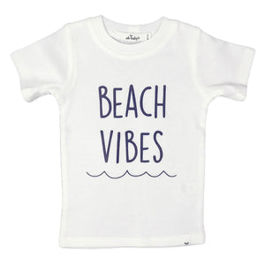 oh baby! Short Sleeve Beach Vibes Navy Ink Tee - Cream