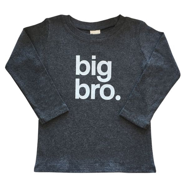 oh baby! Big Bro White Ink Long Sleeve Top - Charcoal Heather