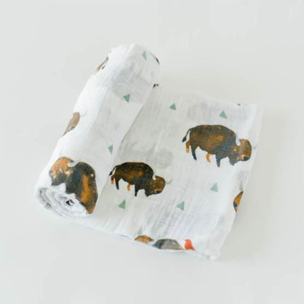 little unicorn Cotton Swaddle Blanket Single - Bison - oh baby!