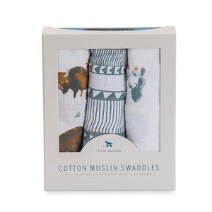 little unicorn Cotton Swaddle Set - Bison - oh baby!