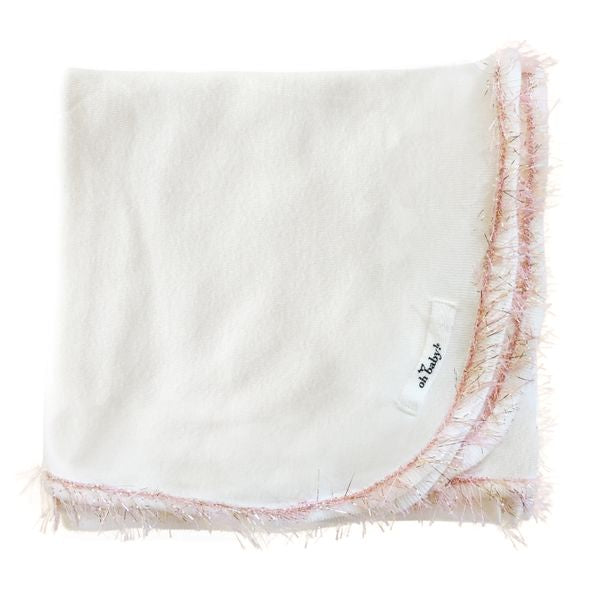 oh baby! Trimmed Layette Blanket - Blush/Pink Gold - Cream