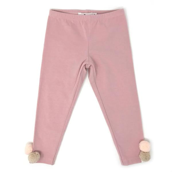 oh baby! Yarn Pom Leggings - Blush