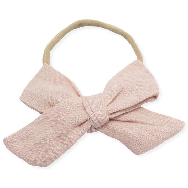 oh baby! School Girl Bow Linen Nylon Headband - Large Bow - Blush