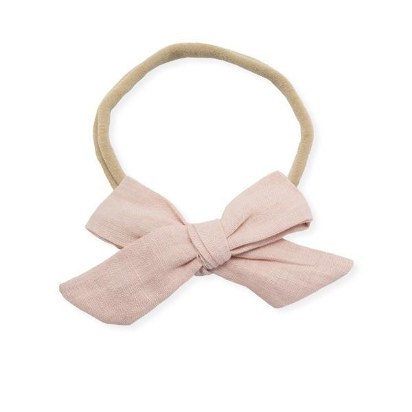 oh baby! School Girl Bow Linen Nylon Headband - Medium Bow - Blush