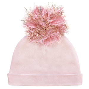 oh baby! Hat - Yarn Pom - Blush/Gold on Light Pink - oh baby!