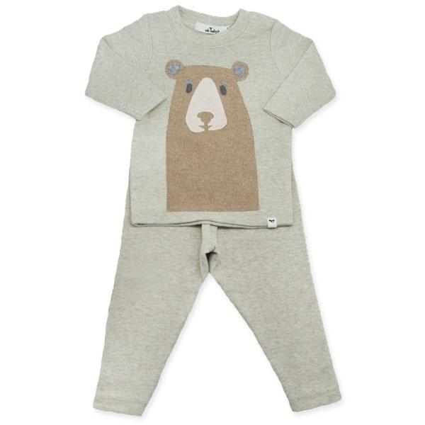oh baby! Boxy Sweatshirt - Black Boo Boo Bear - Pebble Gray