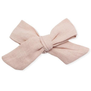 oh baby! School Girl Bow Linen Clip Large - Blush