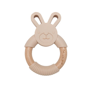 Loulou Lollipop Bunny Silicone and Wood Teether - Beige