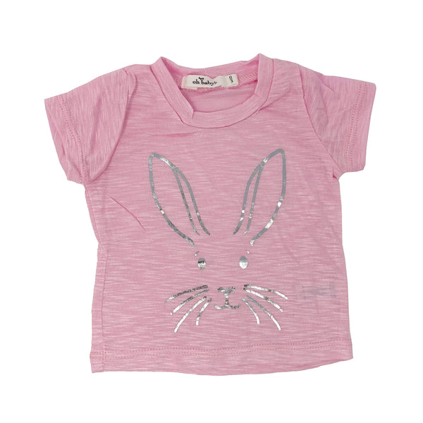 oh baby! Short Sleeve Bamboo Slub Tee - Bunny Face Silver - Candy Pink