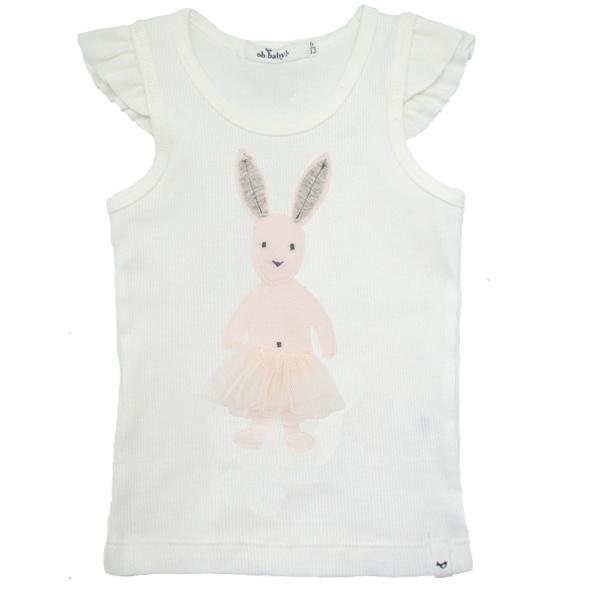 oh baby! Frill Rag Doll Bunny Ivory Flutter Tank Top - Cream