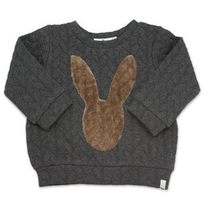 oh baby! Brooklyn Boxy Quilted Cable, Mink Bunny, Charcoal