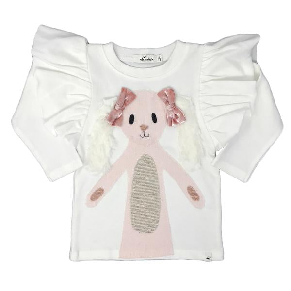 oh baby! Butterfly Sleeve Tee - Meadow Bunny with Velvet Bows - Cream