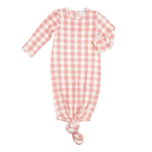 Angel Dear Gingham Knotted Gown - Pink