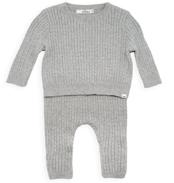 oh baby! Brooklyn Boxy Cable Knit Two Piece Set - Stone
