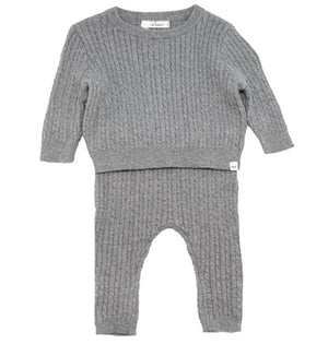 oh baby! Cable Knit Cashmere Sweater Two Piece Set - Stormy - oh baby!