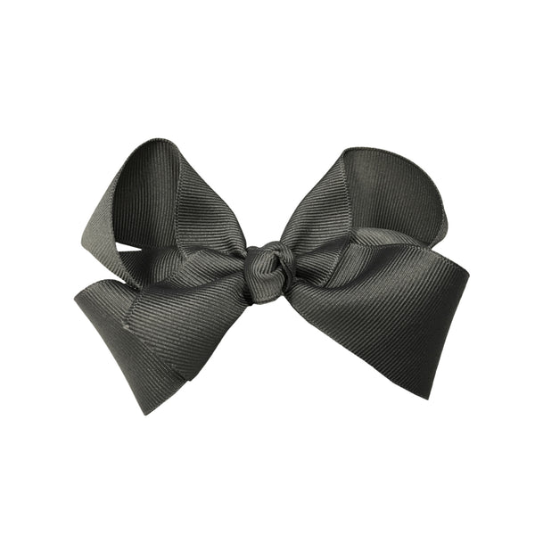 oh baby! Grosgrain Large Ribbon Bow Hair Clip - Charcoal - oh baby!