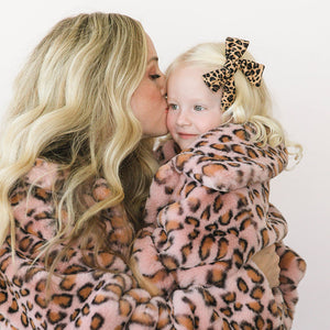 oh baby! Faux Fur Blush Cheetah Leopard Girls Jacket