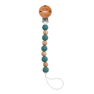 Loulou Lollipop - Celeste Silicone & Wood Pacifier Clip - Teal