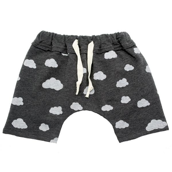 oh baby! Brooklyn Mini Jogger Shorts - Clouds on Charcoal - oh baby!