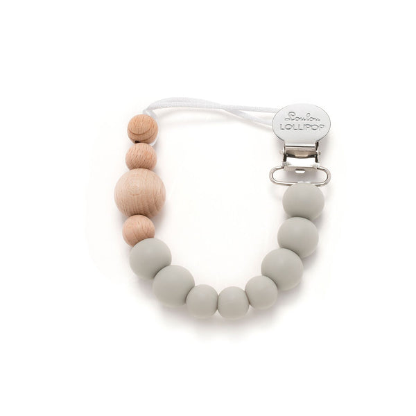 Loulou Lollipop - Colour Block Silicone & Wood Pacifier Clip - Cool Gray - oh baby!