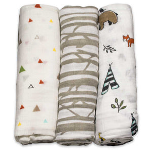 little unicorn Cotton Swaddle Blanket Set - Forest - oh baby!