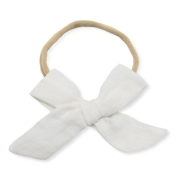 oh baby! School Girl Bow Linen Nylon Headband - Large Bow - Cream
