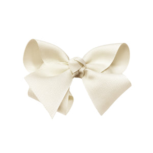 oh baby! Grosgrain Large Ribbon Bow Hair Clip - Cream - oh baby!