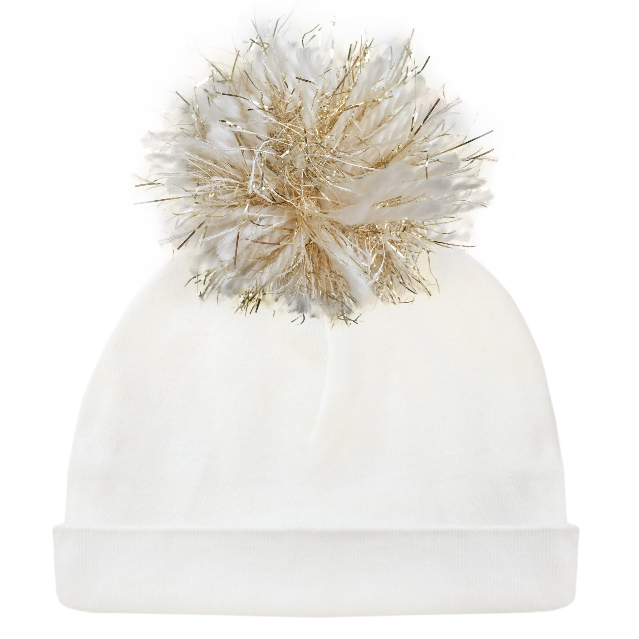 9f9e48c98fe oh baby! Hat - Yarn Pom - Cream Gold on Cream