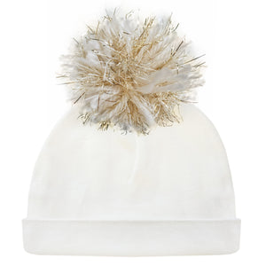 oh baby! Hat - Yarn Pom - Cream/Gold on Cream - oh baby!