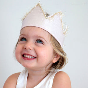 "oh baby! ""Four"" Birthday Crown with Blush/Gold Trim on Oyster Linen"