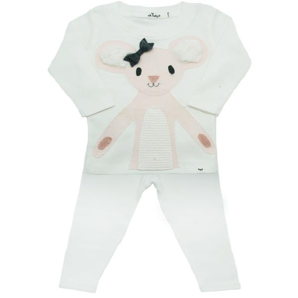 oh baby! Two Piece Set - Pink Daisy Mouse - Cream