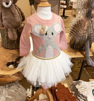 oh baby! Long Sleeve Tee - Pom Pom Daisy Mouse in Sand - Blush