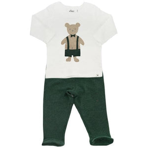 oh baby! Two Piece Footie Set Baby Rib - Dapper Tan Teddy - Forest
