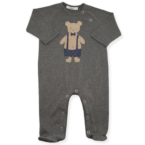 oh baby! Onesie Footie with Dapper Bear - Charcoal