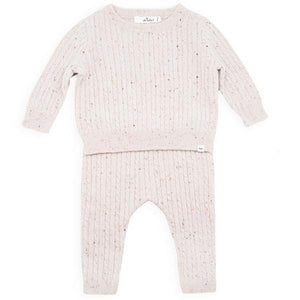 oh baby! Dappled Cashmere Cable Knit Set - Blush