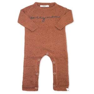 "oh baby! Flat Knit Dappled Romper ""sorry mom"", Rust"