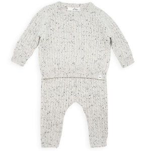 oh baby! Dappled Cashmere Cable Knit Set - Gray