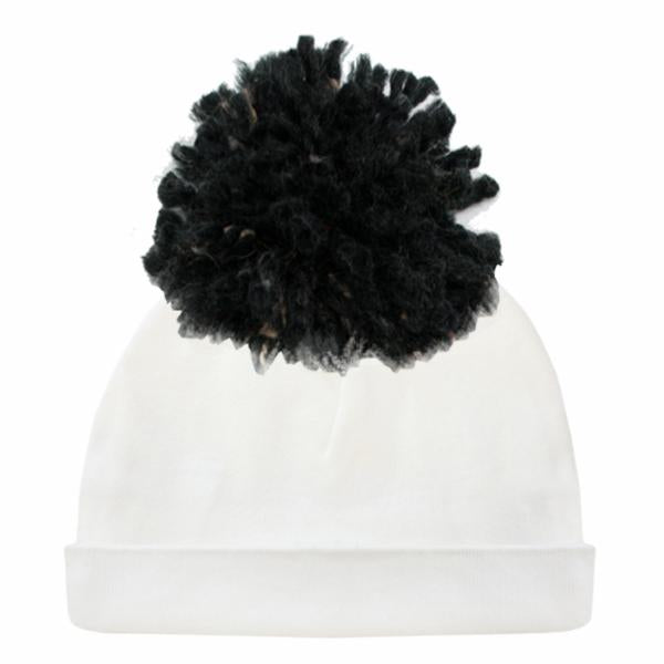oh baby! Pom Hat Dappled Black Yarn on Cream