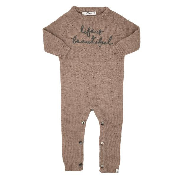 "oh baby! Flat Knit Dappled Romper ""life is beautiful"", Blush"