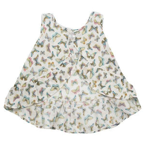 oh baby! Dolly Printed Ruffle Top - Butterfly Print - Cream - oh baby!