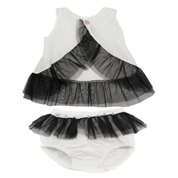 oh baby! Dolly Vintage Linen Frill Set with Black Mesh - Ivory