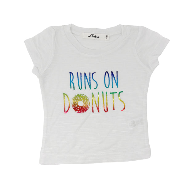 "oh baby! Short Sleeve Bamboo Slub Tee - ""Runs on Donuts"" Rainbow - White"