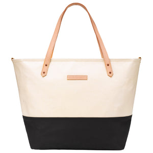 Petunia Pickle Bottom Downtown Tote Coated Canvas Birch-Black - oh baby!