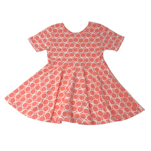 oh baby! Short Sleeve Printed Dress - Coral Circles