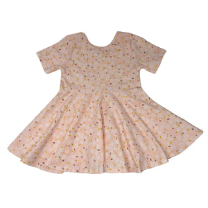 oh baby! Short Sleeve Printed Dress - Peach with Ditzy Flowers