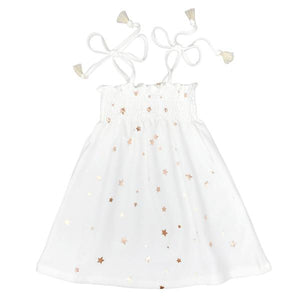 oh baby! Gidget Smocked Dress All Over Stars - Cream