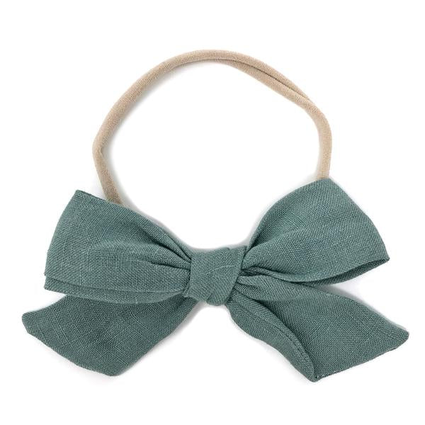 oh baby! School Girl Bow Linen Nylon Headband - Large Bow - Sea