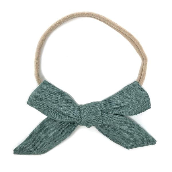 oh baby! School Girl Bow Linen Nylon Headband - Medium Bow - Sea